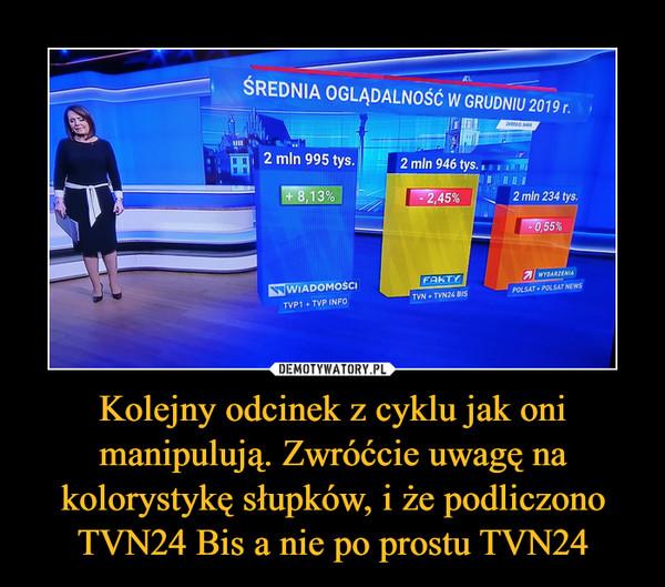 Kolejny odcinek z cyklu jak oni manipulują. Zwróćcie uwagę na kolorystykę słupków, i że podliczono TVN24 Bis a nie po prostu TVN24 –  ŚREDNIA OGLĄDALNOŚĆ W GRUDNIU