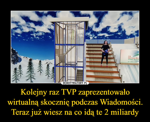 Kolejny raz TVP zaprezentowało wirtualną skocznię podczas Wiadomości. Teraz już wiesz na co idą te 2 miliardy –