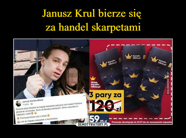 Janusz Krul bierze się  za handel skarpetami