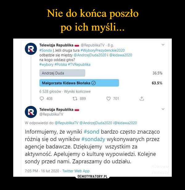–  Telewizja Republika - @RepublikaTV -8 g.R #Sonda | Jeśli druga tura #WyboryPrezydenckie2020odbędzie się między @AndrzejDuda2020 i @kidawa2020na kogo oddasz głos?#wybory #Polska #TVRepublikaAndrzej Duda36.5%Małgorzata Kidawa Blońska O63.5%6 528 głosów Wyniki końcowe40817 889701R Telewizja Republika -@RepublikaTVW odpowiedzi do @RepublikaTV @AndrzejDuda2020 i@kidawa2020Informujemy, że wyniki #sond bardzo często znaczącoróżnią się od wyników #sondaży wykonywanych przezagencje badawcze. Dziękujemy wszystkim zaaktywność. Apelujemy o kulturę wypowiedzi. Kolejnesondy przed nami. Zapraszamy do udziału.NonsensdInstitute7:05 PM 16 lut 2020 Twitter Web App