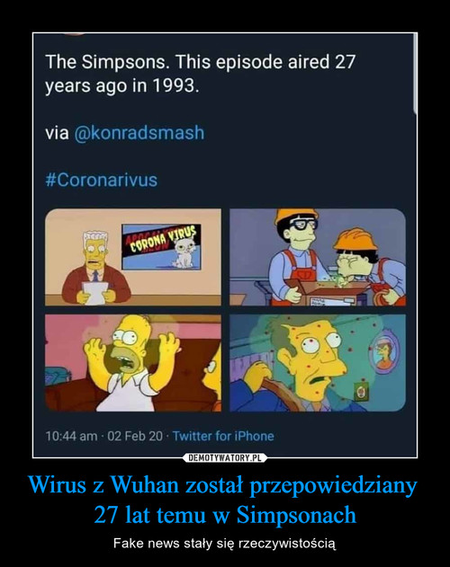 Wirus z Wuhan został przepowiedziany  27 lat temu w Simpsonach