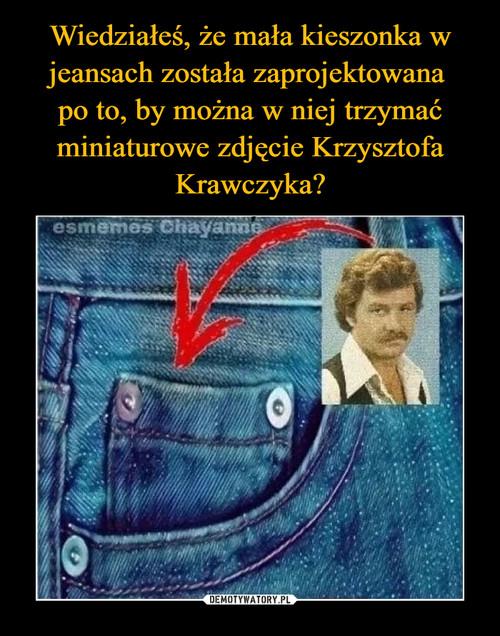 Wiedziałeś, że mała kieszonka w jeansach została zaprojektowana  po to, by można w niej trzymać miniaturowe zdjęcie Krzysztofa Krawczyka?