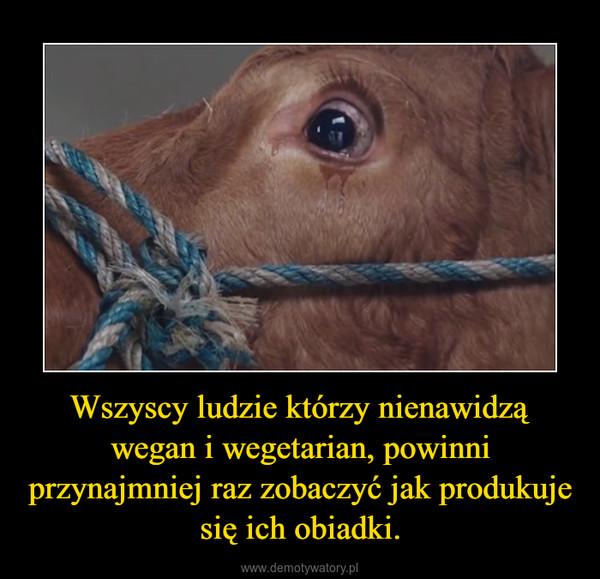 Wszyscy ludzie którzy nienawidzą wegan i wegetarian, powinni przynajmniej raz zobaczyć jak produkuje się ich obiadki. –