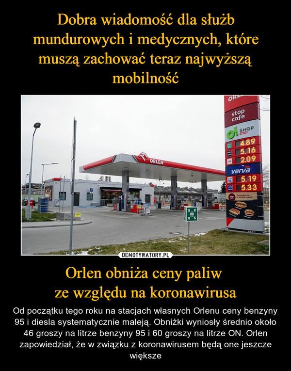 Orlen obniża ceny paliw ze względu na koronawirusa – Od początku tego roku na stacjach własnych Orlenu ceny benzyny 95 i diesla systematycznie maleją. Obniżki wyniosły średnio około 46 groszy na litrze benzyny 95 i 60 groszy na litrze ON. Orlen zapowiedział, że w związku z koronawirusem będą one jeszcze większe