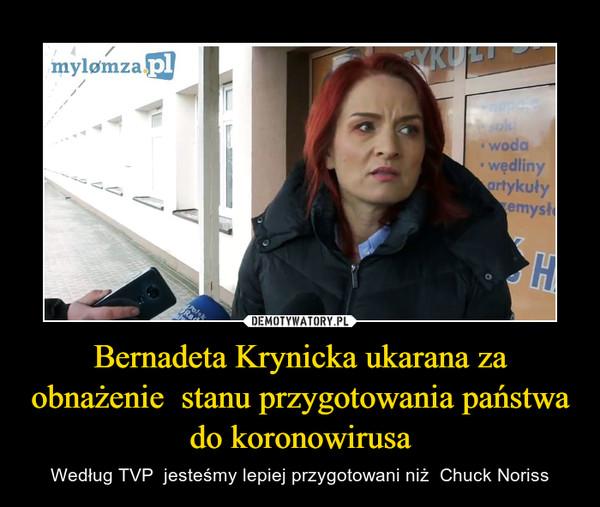 Bernadeta Krynicka ukarana za obnażenie  stanu przygotowania państwa do koronowirusa – Według TVP  jesteśmy lepiej przygotowani niż  Chuck Noriss