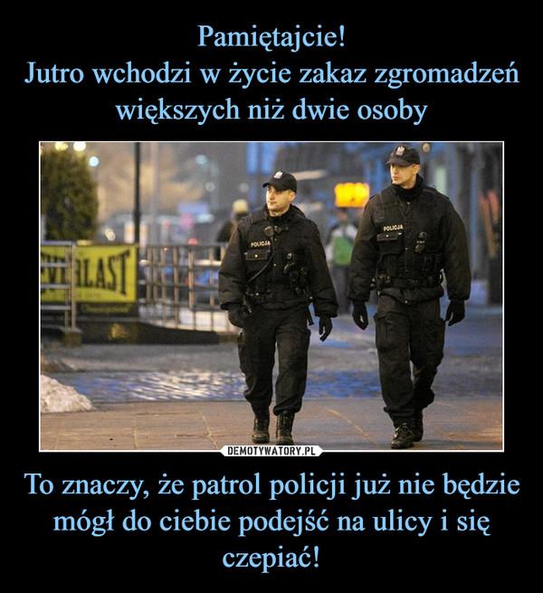 To znaczy, że patrol policji już nie będzie mógł do ciebie podejść na ulicy i się czepiać! –