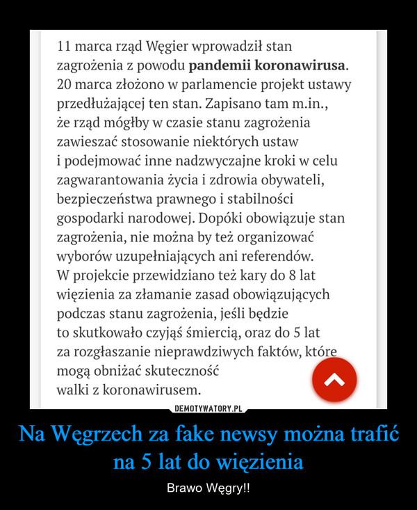 Na Węgrzech za fake newsy można trafić na 5 lat do więzienia – Brawo Węgry!!