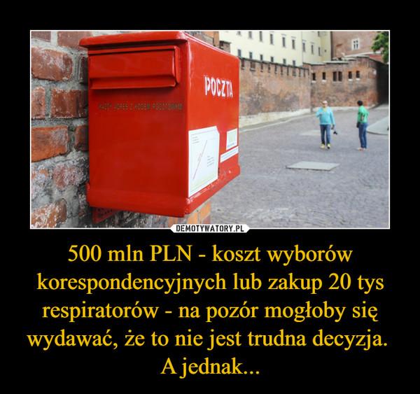 500 mln PLN - koszt wyborów korespondencyjnych lub zakup 20 tys respiratorów - na pozór mogłoby się wydawać, że to nie jest trudna decyzja. A jednak... –