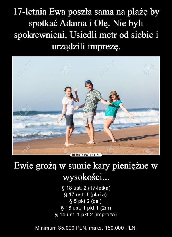 Ewie grożą w sumie kary pieniężne w wysokości... – § 18 ust. 2 (17-latka)§ 17 ust. 1 (plaża) § 5 pkt 2 (cel) § 18 ust. 1 pkt 1 (2m)§ 14 ust. 1 pkt 2 (impreza)Minimum 35.000 PLN, maks. 150.000 PLN.