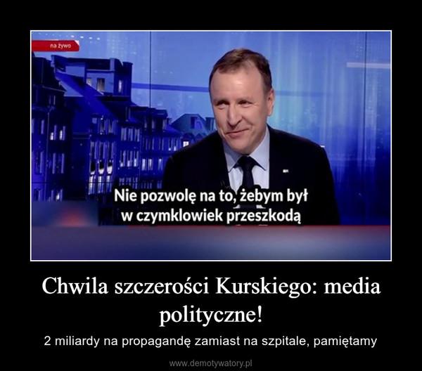 Chwila szczerości Kurskiego: media polityczne! – 2 miliardy na propagandę zamiast na szpitale, pamiętamy