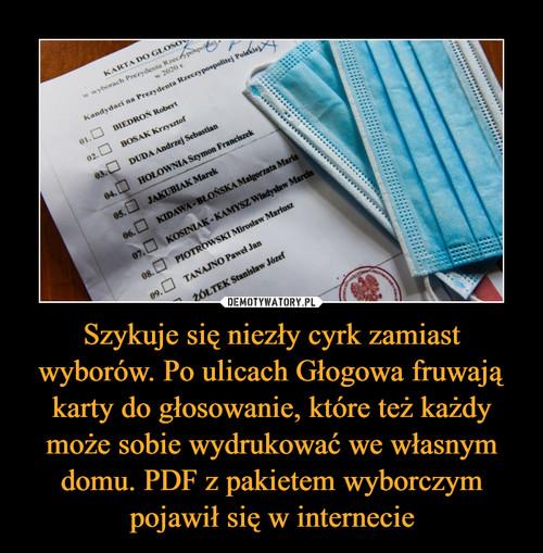 Szykuje się niezły cyrk zamiast wyborów. Po ulicach Głogowa fruwają karty do głosowanie, które też każdy może sobie wydrukować we własnym domu. PDF z pakietem wyborczym pojawił się w internecie