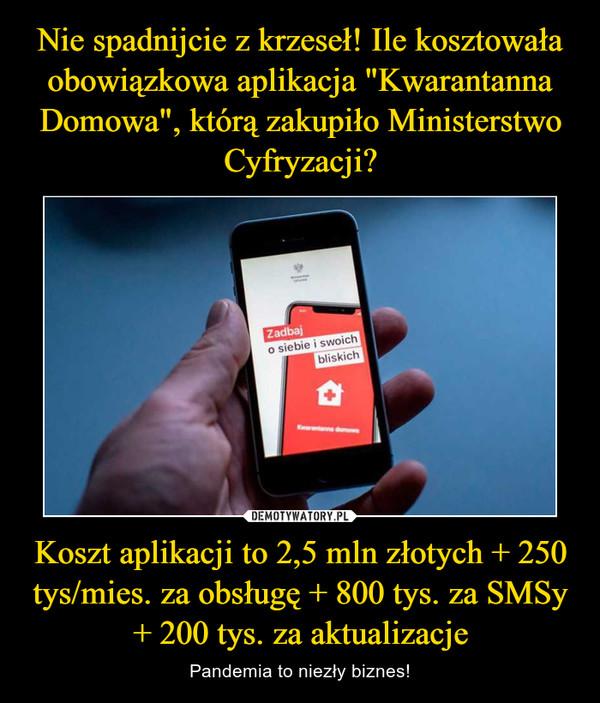 Koszt aplikacji to 2,5 mln złotych + 250 tys/mies. za obsługę + 800 tys. za SMSy + 200 tys. za aktualizacje – Pandemia to niezły biznes!