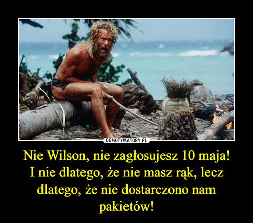 Nie Wilson, nie zagłosujesz 10 maja! I nie dlatego, że nie masz rąk, lecz dlatego, że nie dostarczono nam pakietów!