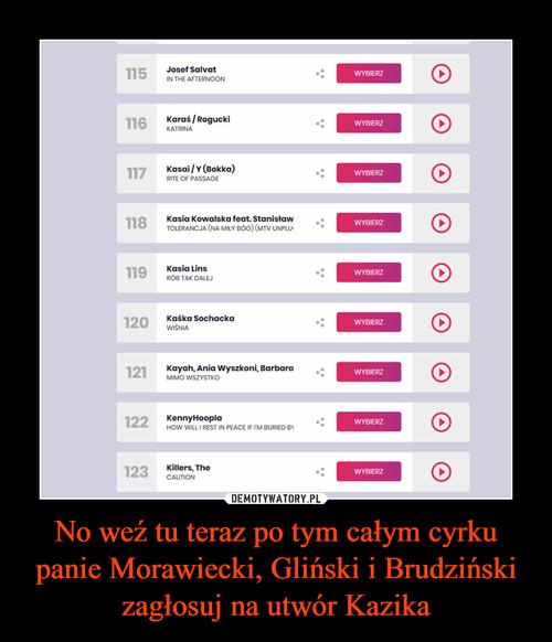 No weź tu teraz po tym całym cyrku panie Morawiecki, Gliński i Brudziński zagłosuj na utwór Kazika