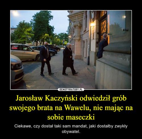 Jarosław Kaczyński odwiedził grób swojego brata na Wawelu, nie mając na sobie maseczki