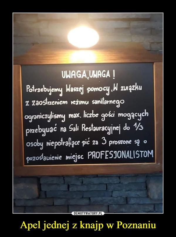 Apel jednej z knajp w Poznaniu –