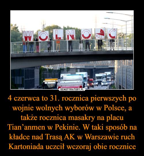 4 czerwca to 31. rocznica pierwszych po wojnie wolnych wyborów w Polsce, a także rocznica masakry na placu Tian'anmen w Pekinie. W taki sposób na kładce nad Trasą AK w Warszawie ruch Kartoniada uczcił wczoraj obie rocznice