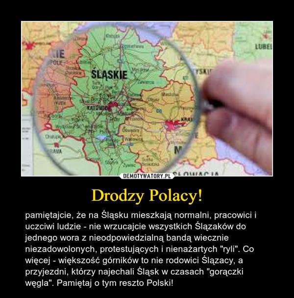 """Drodzy Polacy! – pamiętajcie, że na Śląsku mieszkają normalni, pracowici i uczciwi ludzie - nie wrzucajcie wszystkich Ślązaków do jednego wora z nieodpowiedzialną bandą wiecznie niezadowolonych, protestujących i nienażartych """"ryli"""". Co więcej - większość górników to nie rodowici Ślązacy, a przyjezdni, którzy najechali Śląsk w czasach """"gorączki węgla"""". Pamiętaj o tym reszto Polski!"""