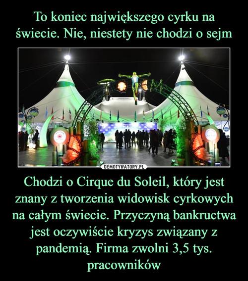 To koniec największego cyrku na świecie. Nie, niestety nie chodzi o sejm Chodzi o Cirque du Soleil, który jest znany z tworzenia widowisk cyrkowych na całym świecie. Przyczyną bankructwa jest oczywiście kryzys związany z pandemią. Firma zwolni 3,5 tys. pracowników