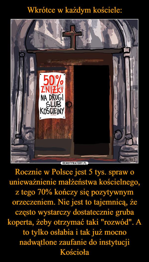 """Rocznie w Polsce jest 5 tys. spraw o unieważnienie małżeństwa kościelnego, z tego 70% kończy się pozytywnym orzeczeniem. Nie jest to tajemnicą, że często wystarczy dostatecznie gruba koperta, żeby otrzymać taki """"rozwód"""". A to tylko osłabia i tak już mocno nadwątlone zaufanie do instytucji Kościoła –"""