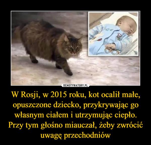 W Rosji, w 2015 roku, kot ocalił małe, opuszczone dziecko, przykrywając go własnym ciałem i utrzymując ciepło. Przy tym głośno miauczał, żeby zwrócić uwagę przechodniów –