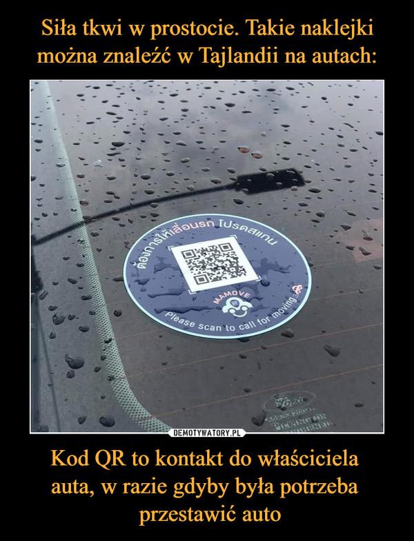 Kod QR to kontakt do właściciela auta, w razie gdyby była potrzeba  przestawić auto –