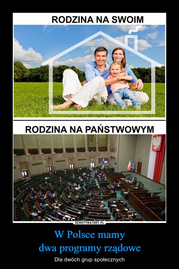 W Polsce mamydwa programy rządowe – Dla dwóch grup społecznych