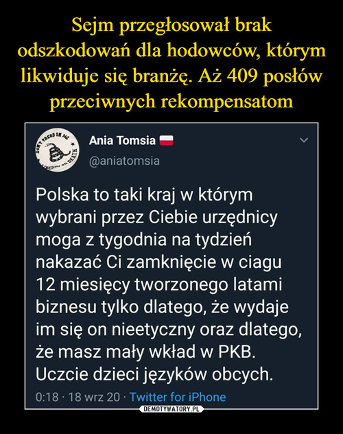 Sejm przegłosował brak odszkodowań dla hodowców, którym likwiduje się branżę. Aż 409 posłów przeciwnych rekompensatom