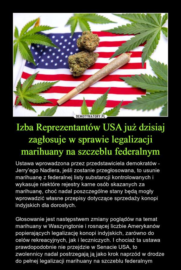Izba Reprezentantów USA już dzisiaj zagłosuje w sprawie legalizacji marihuany na szczeblu federalnym – Ustawa wprowadzona przez przedstawiciela demokratów - Jerry'ego Nadlera, jeśli zostanie przegłosowana, to usunie marihuanę z federalnej listy substancji kontrolowanych i wykasuje niektóre rejestry karne osób skazanych za marihuanę, choć nadal poszczególne stany będą mogły wprowadzić własne przepisy dotyczące sprzedaży konopi indyjskich dla dorosłych.Głosowanie jest następstwem zmiany poglądów na temat marihuany w Waszyngtonie i rosnącej liczbie Amerykanów popierających legalizację konopi indyjskich, zarówno do celów rekreacyjnych, jak i leczniczych. I chociaż ta ustawa prawdopodobnie nie przejdzie w Senacie USA, to zwolennicy nadal postrzegają ją jako krok naprzód w drodze do pełnej legalizacji marihuany na szczeblu federalnym