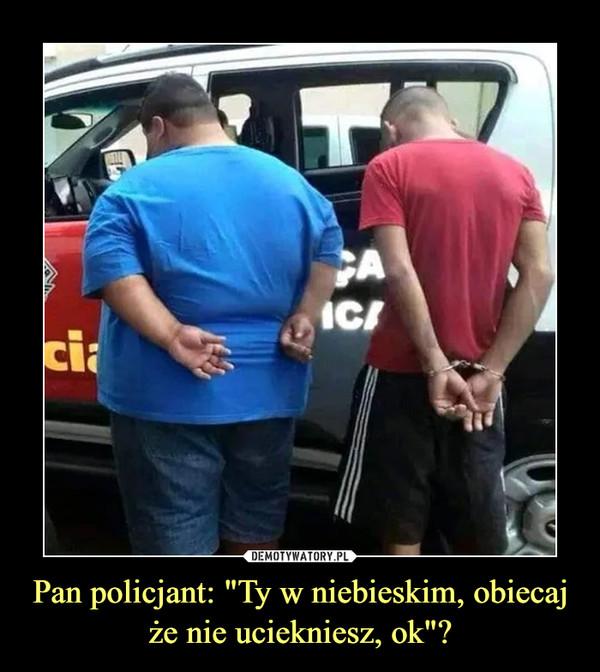 """Pan policjant: """"Ty w niebieskim, obiecaj że nie uciekniesz, ok""""? –"""