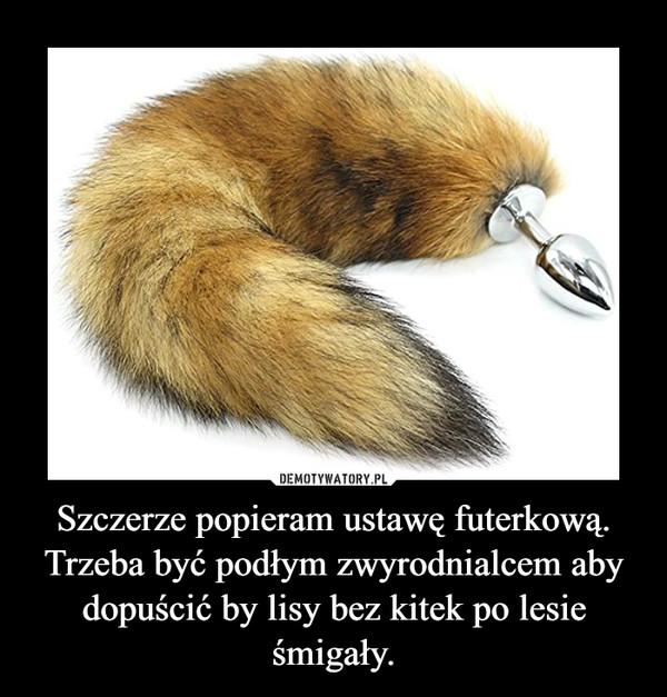 Szczerze popieram ustawę futerkową.Trzeba być podłym zwyrodnialcem aby dopuścić by lisy bez kitek po lesie śmigały. –