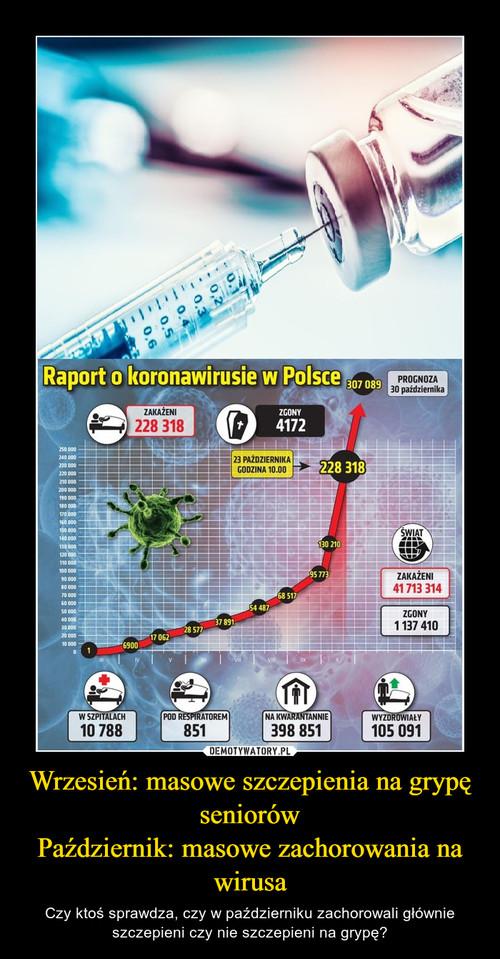 Wrzesień: masowe szczepienia na grypę seniorów Październik: masowe zachorowania na wirusa