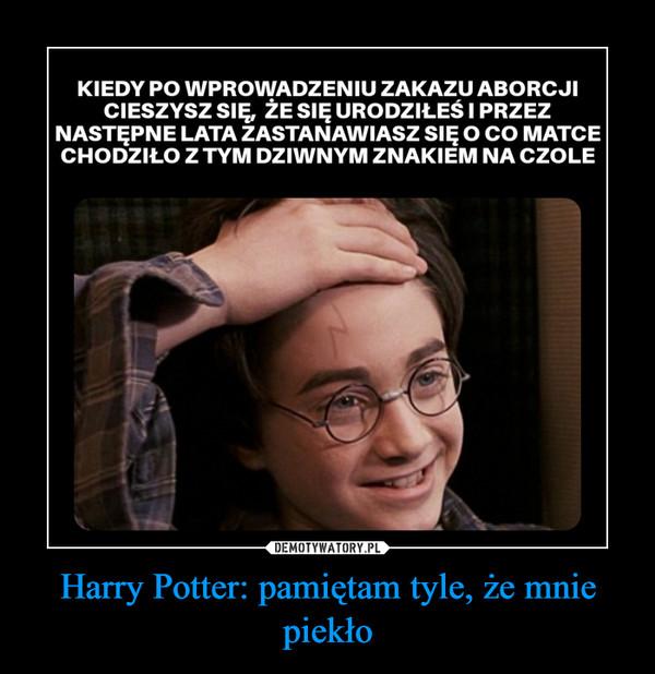Harry Potter: pamiętam tyle, że mnie piekło –
