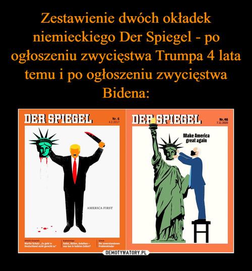 Zestawienie dwóch okładek niemieckiego Der Spiegel - po ogłoszeniu zwycięstwa Trumpa 4 lata temu i po ogłoszeniu zwycięstwa Bidena: