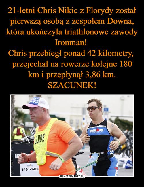 21-letni Chris Nikic z Florydy został pierwszą osobą z zespołem Downa, która ukończyła triathlonowe zawody Ironman!  Chris przebiegł ponad 42 kilometry,  przejechał na rowerze kolejne 180 km i przepłynął 3,86 km. SZACUNEK!