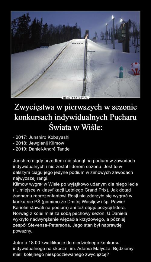Zwycięstwa w pierwszych w sezonie konkursach indywidualnych Pucharu Świata w Wiśle: