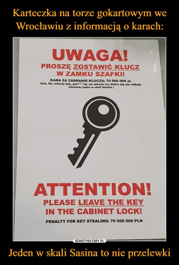 Jeden w skali Sasina to nie przelewki –  UWAGA!PROSZĘ ZOSTAWIĆ KLUCZW ZAMKU SZAFKI!KARA ZA ZABRANIE KLUCZA: 70 000 000 zł,tyle, ile, wiecie kto, prz***al, na wiecle co, które się nie odbyły(słownie: jeden w skali Sasina )ATTENTION!PLEASE LEAVE THE KEYIN THE CABINET LOCK!PENALTY FOR KEY STEALING: 70 000 000 PLN