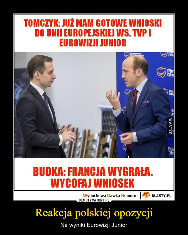Reakcja polskiej opozycji – Na wyniki Eurowizji Junior