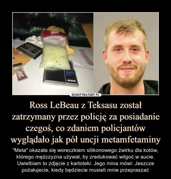 """Ross LeBeau z Teksasu został zatrzymany przez policję za posiadanie czegoś, co zdaniem policjantów wyglądało jak pół uncji metamfetaminy – """"Meta"""" okazała się woreczkiem silikonowego żwirku dla kotów, którego mężczyzna używał, by zredukować wilgoć w aucie.Uwielbiam to zdjęcie z kartoteki. Jego mina mówi: Jeszcze pożałujecie, kiedy będziecie musieli mnie przepraszać"""