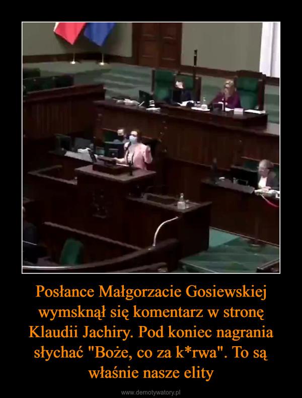 """Posłance Małgorzacie Gosiewskiej wymsknął się komentarz w stronę Klaudii Jachiry. Pod koniec nagrania słychać """"Boże, co za k*rwa"""". To są właśnie nasze elity –"""