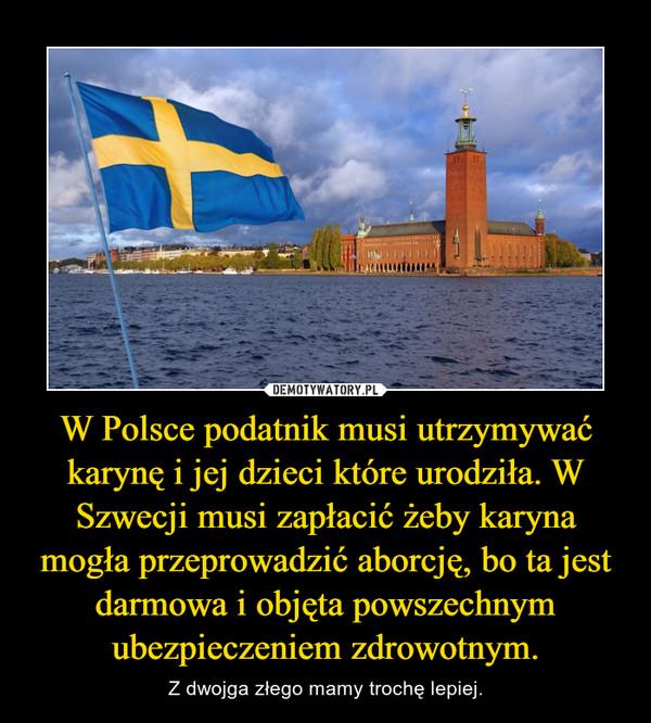 W Polsce podatnik musi utrzymywać karynę i jej dzieci które urodziła. W Szwecji musi zapłacić żeby karyna mogła przeprowadzić aborcję, bo ta jest darmowa i objęta powszechnym ubezpieczeniem zdrowotnym. – Z dwojga złego mamy trochę lepiej.