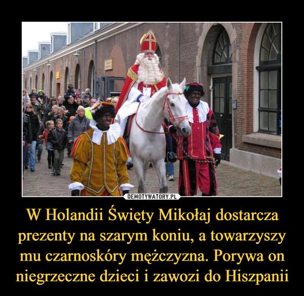 W Holandii Święty Mikołaj dostarcza prezenty na szarym koniu, a towarzyszy mu czarnoskóry mężczyzna. Porywa on niegrzeczne dzieci i zawozi do Hiszpanii –