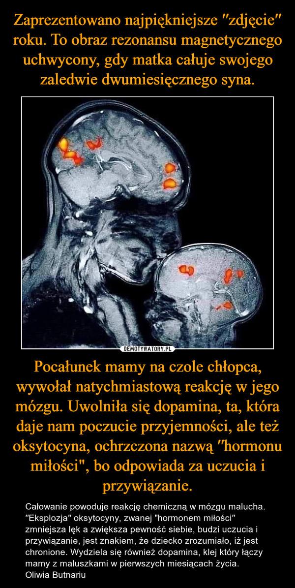 """Pocałunek mamy na czole chłopca, wywołał natychmiastową reakcję w jego mózgu. Uwolniła się dopamina, ta, która daje nam poczucie przyjemności, ale też oksytocyna, ochrzczona nazwą ′′hormonu miłości"""", bo odpowiada za uczucia i przywiązanie. – Całowanie powoduje reakcję chemiczną w mózgu malucha.′′Eksplozja′′ oksytocyny, zwanej """"hormonem miłości′′ zmniejsza lęk a zwiększa pewność siebie, budzi uczucia i przywiązanie, jest znakiem, że dziecko zrozumiało, iż jest chronione. Wydziela się również dopamina, klej który łączy mamy z maluszkami w pierwszych miesiącach życia.Oliwia Butnariu"""