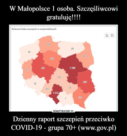 W Małopolsce 1 osoba. Szczęśliwcowi gratuluję!!!! Dzienny raport szczepień przeciwko COVID-19 - grupa 70+ (www.gov.pl)
