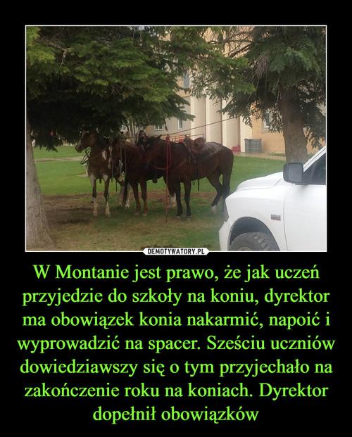 W Montanie jest prawo, że jak uczeń przyjedzie do szkoły na koniu, dyrektor ma obowiązek konia nakarmić, napoić i wyprowadzić na spacer. Sześciu uczniów dowiedziawszy się o tym przyjechało na zakończenie roku na koniach. Dyrektor dopełnił obowiązków