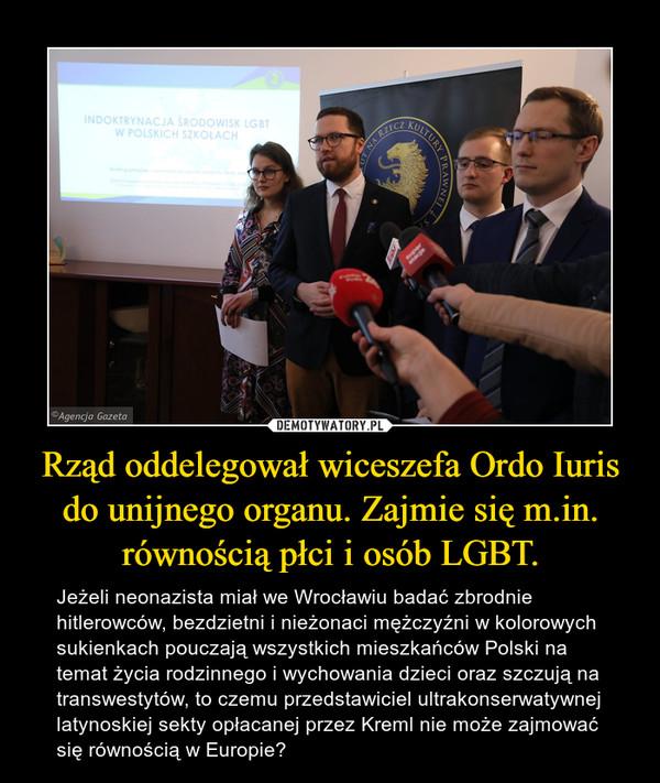 Rząd oddelegował wiceszefa Ordo Iuris do unijnego organu. Zajmie się m.in. równością płci i osób LGBT. – Jeżeli neonazista miał we Wrocławiu badać zbrodnie hitlerowców, bezdzietni i nieżonaci mężczyźni w kolorowych sukienkach pouczają wszystkich mieszkańców Polski na temat życia rodzinnego i wychowania dzieci oraz szczują na transwestytów, to czemu przedstawiciel ultrakonserwatywnej latynoskiej sekty opłacanej przez Kreml nie może zajmować się równością w Europie?