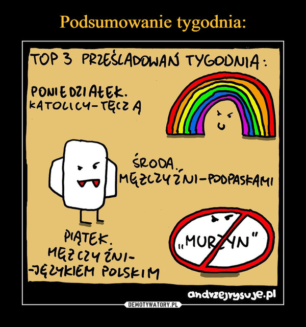 """–  TOP 3 PRZEŚLADOWAN TYGODNIA :PONIE DZI AŁEK.KATOLICY-TĘCZAŚRODA.,MGZCZYZNI-POOPASKAMIPIĄTEK.MEZCZY ÉNI--JG2YKIEM POLSKIM""""MURZYN""""andvzejrysuje.pl"""