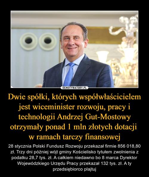 Dwie spółki, których współwłaścicielem jest wiceminister rozwoju, pracy i technologii Andrzej Gut-Mostowy otrzymały ponad 1 mln złotych dotacji  w ramach tarczy finansowej