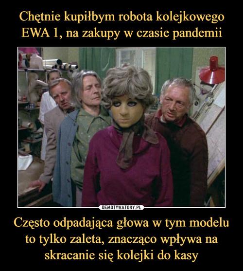 Chętnie kupiłbym robota kolejkowego EWA 1, na zakupy w czasie pandemii Często odpadająca głowa w tym modelu to tylko zaleta, znacząco wpływa na skracanie się kolejki do kasy