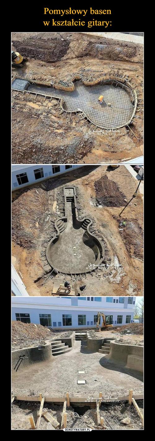 Pomysłowy basen w kształcie gitary:
